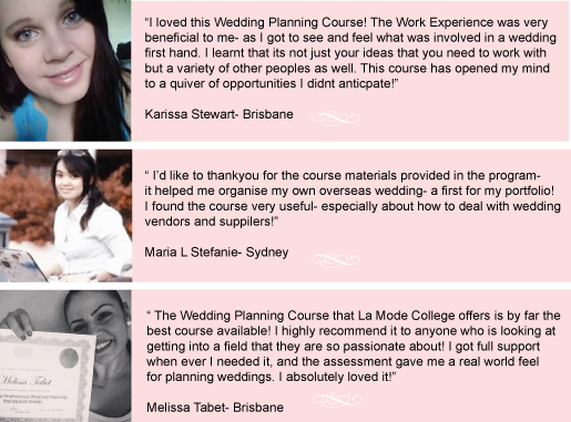 wedding planning course online student reviews testimonials La Mode College