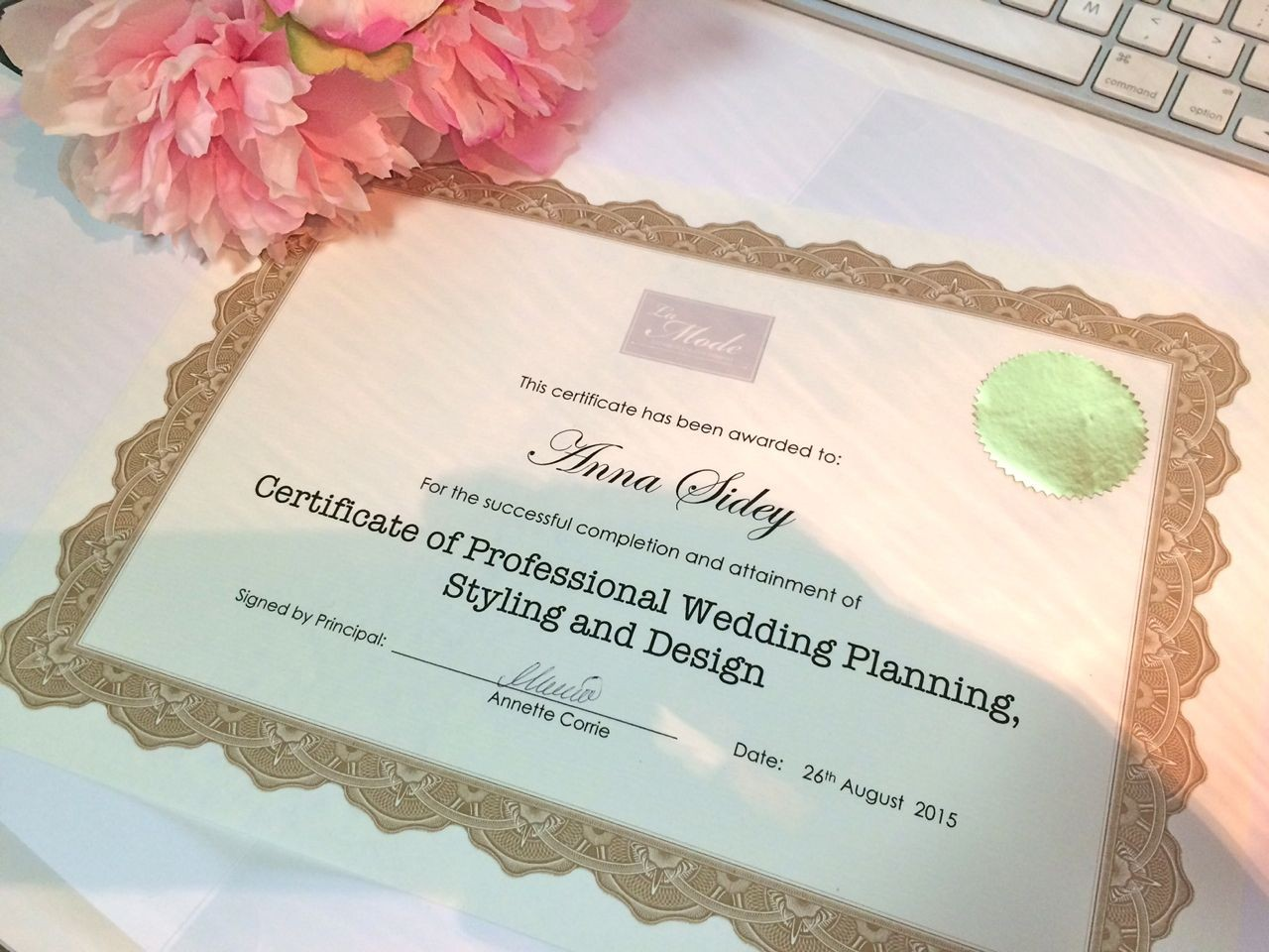 Certificate of Professional Wedding Planning La Mode College- Become a wedding planner