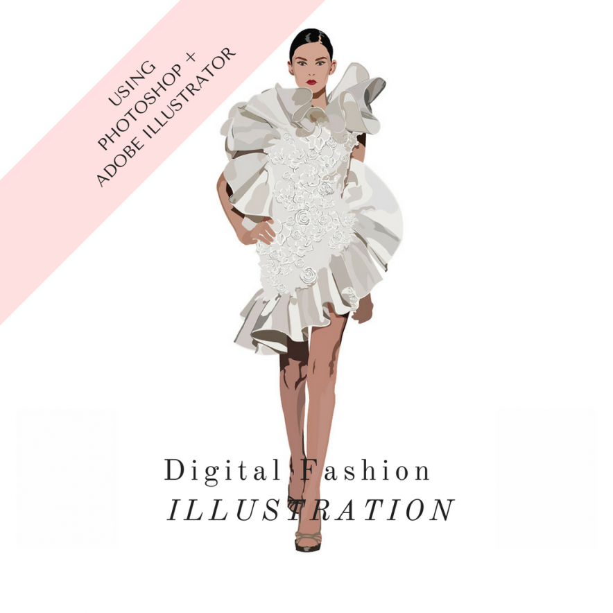 Digital Fashion Illustration Online Course How to use Adibe Illustrator and Photoshop to Draw FAshion Designs by La Mode College