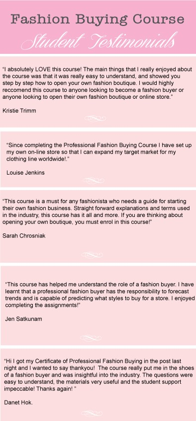 Fashion Buying Course Student Testimonials