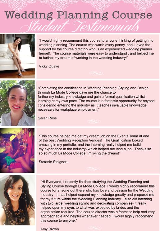 Wedding Planning Student Testimonials